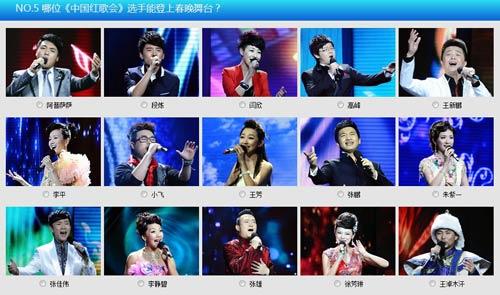 NO.5 哪位《中国红歌会》选手能登上春晚舞台?