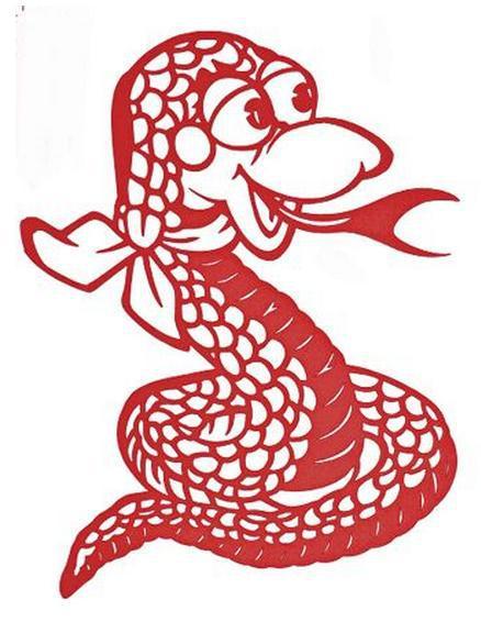 超萌剪纸蛇蛇年剪纸教程与图案