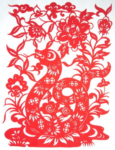 可爱的蛇剪纸 蛇年剪纸图片大全