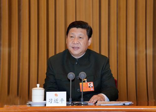 3月11日,中共中央总书记、中共中央军委主席习近平出席十二届全国人大一次会议解放军代表团全体会议并发表重要讲话。
