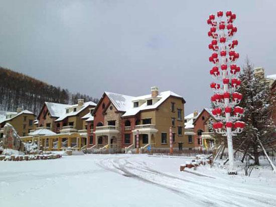 下雪街道风景欧式