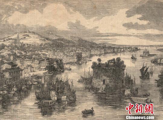 19世纪广州城及珠江全景图。