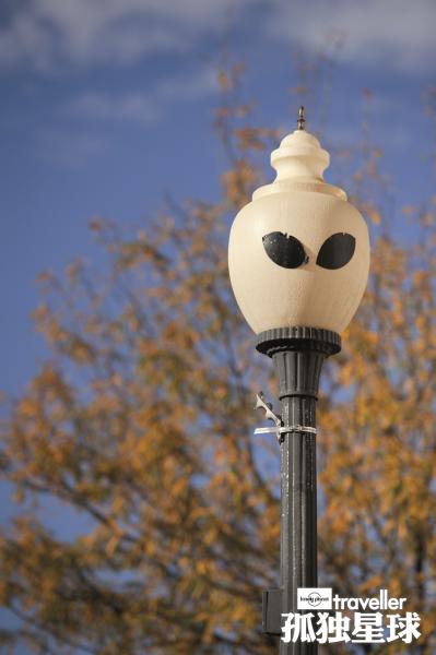 罗斯维尔街头装扮成外星人的街灯