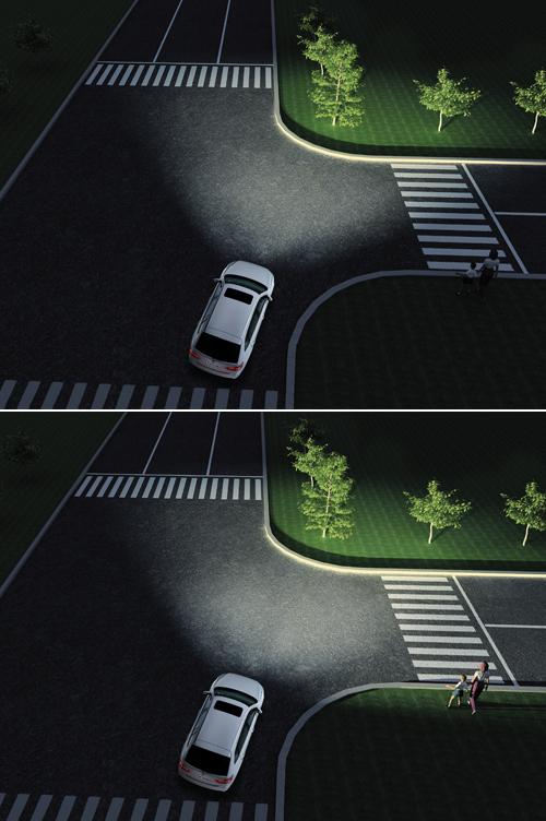 弯道辅助照明系统(上:无;下:有)