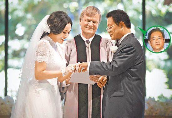刘晓庆美国结婚_刘晓庆(左起)在牧师见证下,在美国时间8月20日和富商老公王晓玉举行
