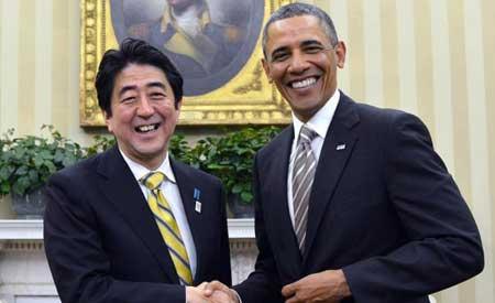 日本首相安倍晋三访美会见奥巴马