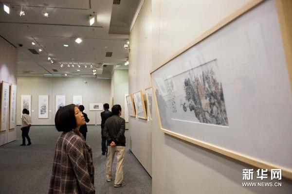 """观众在海南省博物馆观看""""文心诗境·张继刚诗书画""""作品展"""