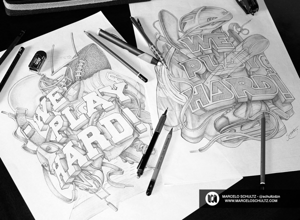 巴西的时尚字体插画师Marcelo Schultz的手绘立体素描手稿。他认为素描是一个在艺术创作中最重要的步骤之一,它能保持想法始终具有活力。现在很多艺术家创造的一切直接在电脑上表现,虽然不是错误的,但它会使素描的形式失去火花。