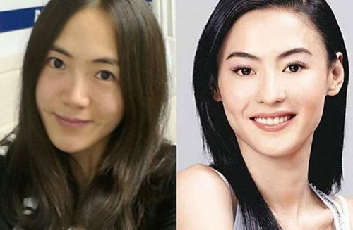 中国女子速滑队王北星(左)和张柏芝(右)
