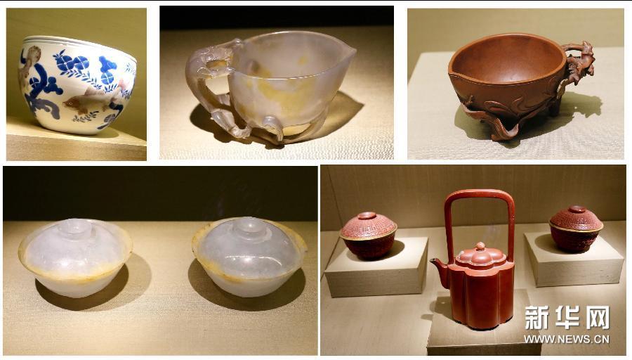 """(4)3月4日,苏州博物馆""""古韵茶香——茶具与茶文化主题特展""""上展出清明时期的茶具(拼版照片)。"""