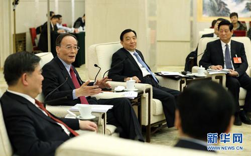 شارك وانغ تشي شان وفد مقاطعة شنشي في المراجعة