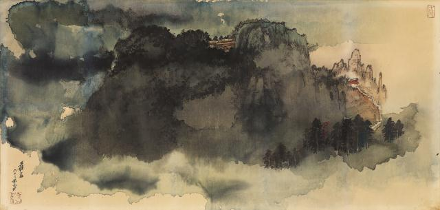 张大千 《阔浦遥山》 国画 102cmx193cm 1977年