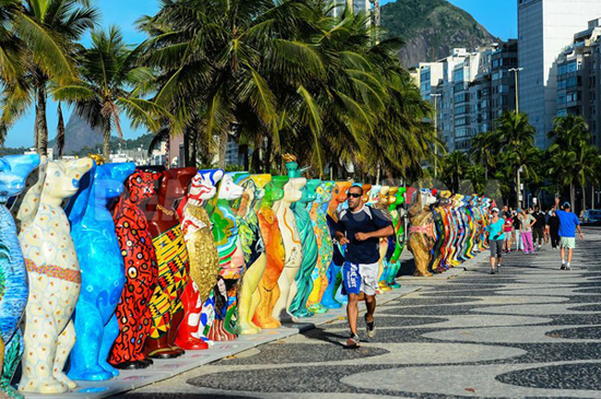 Buddy Bears representing 141 different countries line the shores of Rio de Janeiro to welcome the 2014 World Cup.