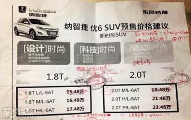 纳智捷优6 SUV疑似价格曝光 售15.48万
