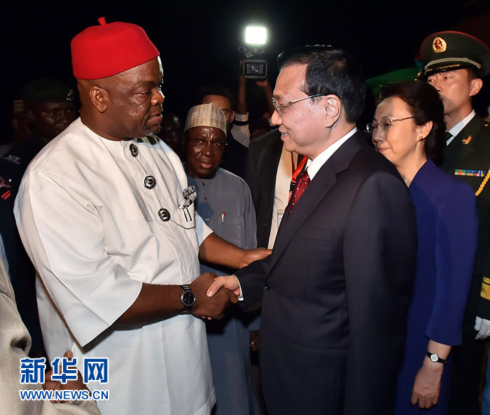 Chinese Premier Li Keqiang has arrived in Abuja, the capital of Nigeria, in the second leg of his Africa tour.