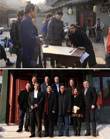 上:赵文卓在唐诗《游子吟》拍摄现场;下:与国际知名导演交流合影