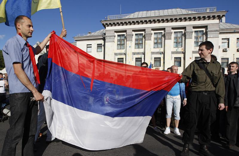 Акция протеста у посольства Российской Федерации в Киеве
