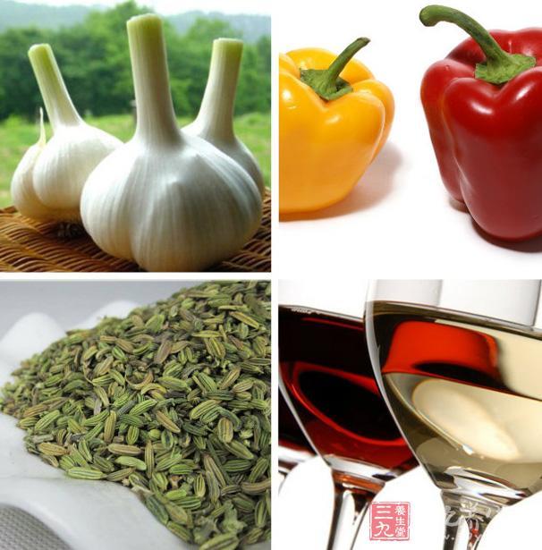 忌食大蒜、辣椒、胡椒、茴香、酒