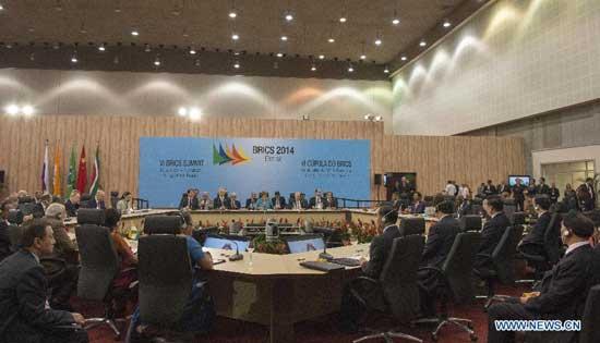 The sixth BRICS summit is held in Fortaleza, Brazil, July 15, 2014. (Xinhua/Li Xueren)