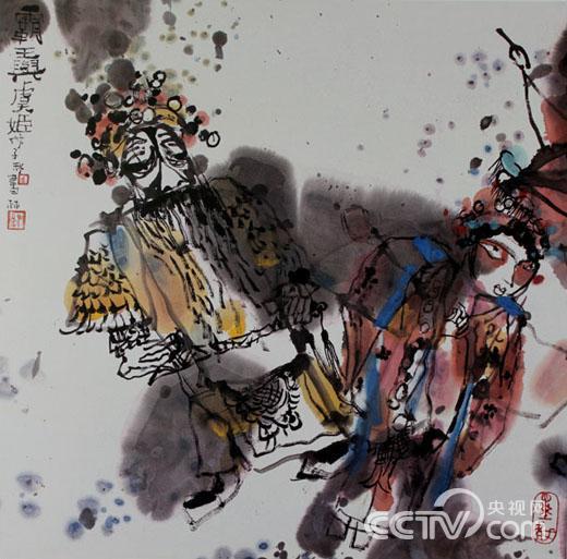 马书林用水墨写意京剧人物