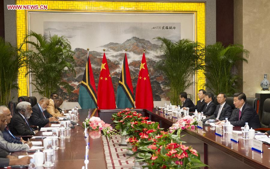 Chinese President Xi Jinping meets with Prime Minister of Vanuatu Joe Natuman in Nanjing, capital of east China