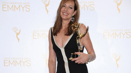 Aug. 16, 2014: Allison Janney poses in the press room with the award for outstanding guest actress in a drama series for her work on Masters of Sex at the 2014 Creative Arts Emmys at Nokia Theatre L.A.