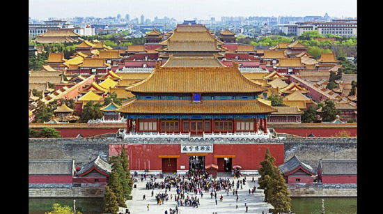 A 2012 photo of the Forbidden City in Beijing looking south, taken from Jingshan Park