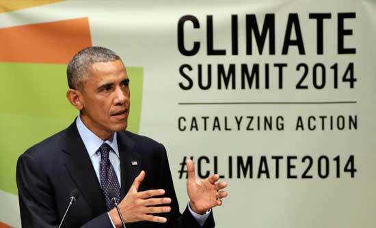 United States President Barack Obama addresses the Climate Summit, at United Nations headquarters, Tuesday, Sept. 23, 2014.