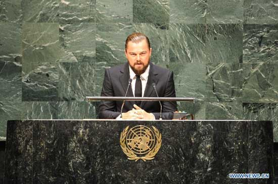 Leonardo DiCaprio, actor and UN Messenger of Peace, speaks during the opening ceremony of the Climate Summit at the UN headquarters in New York, on Sept. 23, 2014. The one-day summit, convened by UN Secretary-General Ban Ki-moon, is expected to galvanize global action on climate change. (Xinhua/Niu Xiaolei)