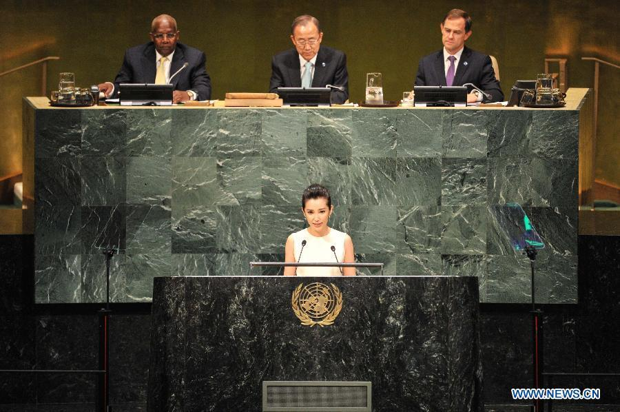 Li Bingbing (front), actress and UN Environment Programme Goodwill Ambassador, speaks during the opening ceremony of the Climate Summit at the UN headquarters in New York, on Sept. 23, 2014. The one-day summit, convened by UN Secretary-General Ban Ki-moon, is expected to galvanize global action on climate change. (Xinhua/Niu Xiaolei)