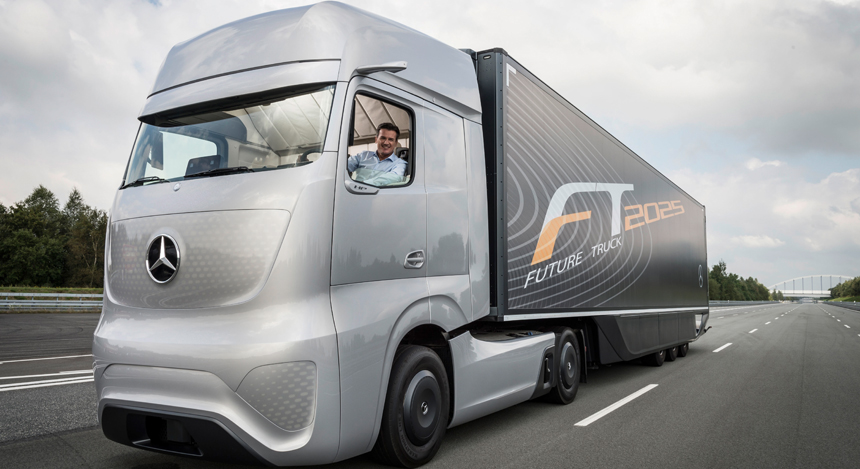 Daimler ag unveils mercedes benz future truck cctv news for Mercedes benz germany careers