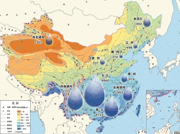 我国降水以及南北方水资源分布图