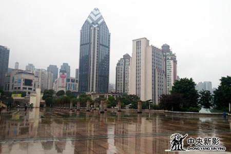细雨中的涪陵新城区