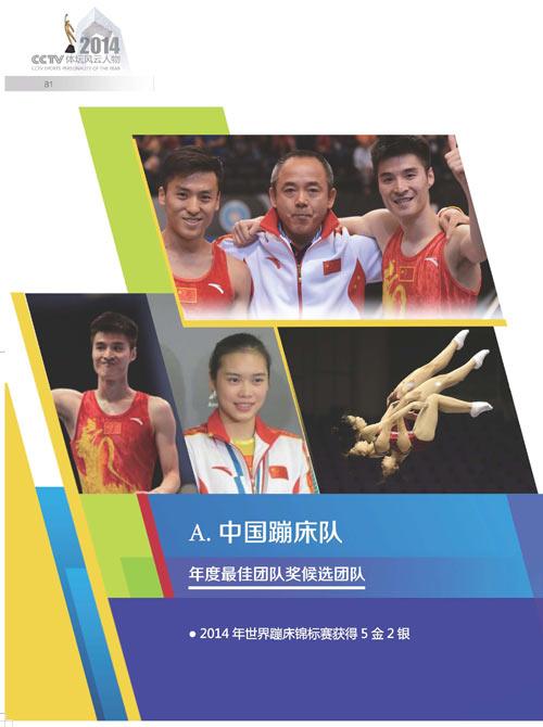 2014体坛风云人物年度最佳团队奖候选团队 中国蹦床队