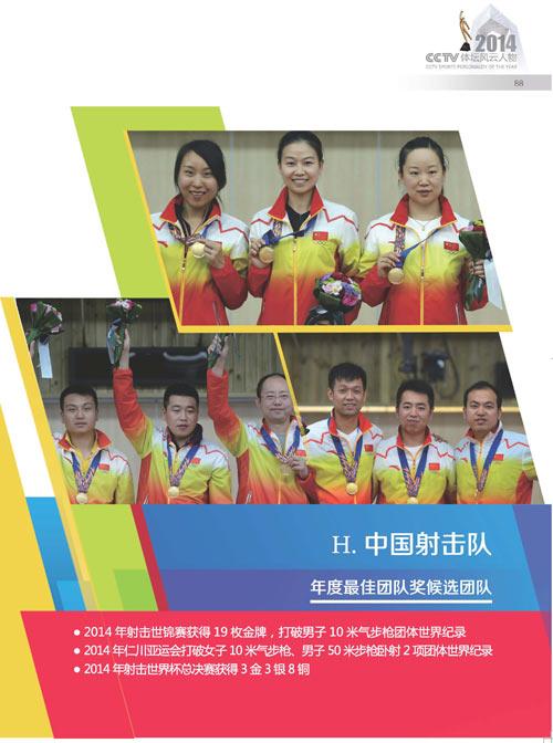 2014体坛风云人物年度最佳团队奖候选团队 中国射击队