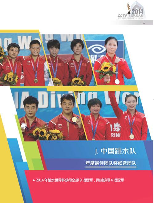 2014体坛风云人物年度最佳团队奖候选团队 中国跳水队