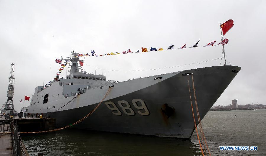 Photo taken on Jan. 12, 2015 shows Chanbaishan warship of the 18th convoy fleet sent by the Chinese People