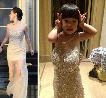 小s晒与女儿穿同款衣服对比照 网友:买家卖家秀