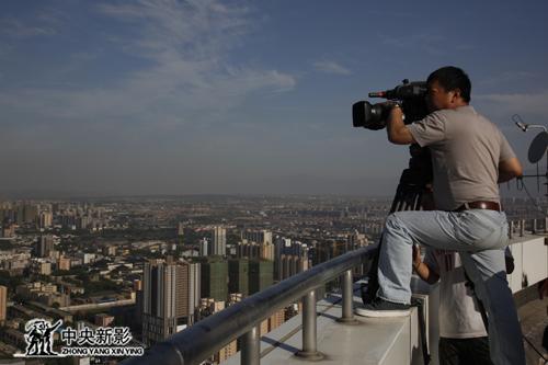 拍摄西安城区风景
