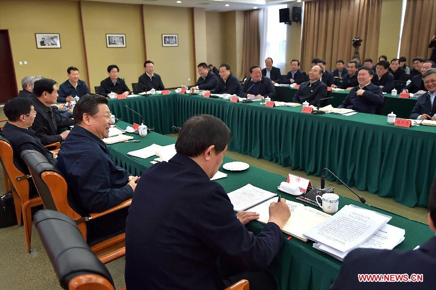 Chinese President and General Secretary of the Communist Party of China Central Committee Xi Jinping, also chairman of the Central Military Commission, presides over a seminar on shaking off poverty and becoming prosperous at China Executive Leadership Academy, Yan