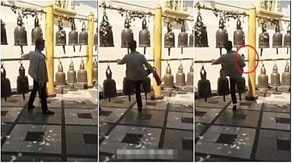 中国游客在泰国脚踢古寺铜钟遭泰网友讨伐(视频截图)