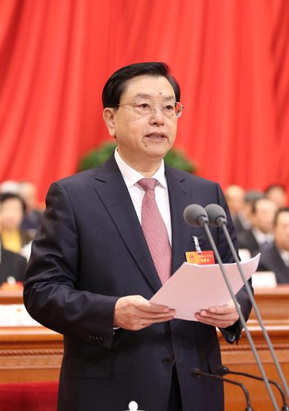 3月15日,第十二届全国人民代表大会第三次会议在北京人民大会堂举行闭幕会。张德江主持闭幕会并讲话。新华社记者 兰红光 摄