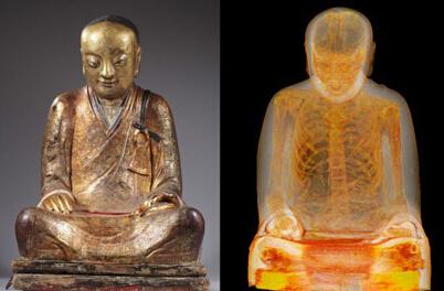 经CT扫描,这尊盗自中国的千年前佛像内部藏有一具僧人肉身