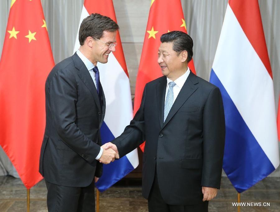 اجتمع شي جين بينغ برئيس الوزراء الهولندي مارك روت