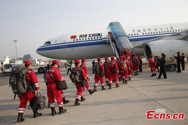 A Chinese Search and Rescue Team left for Nepal on Sunday morning, to help with relief work in the country.