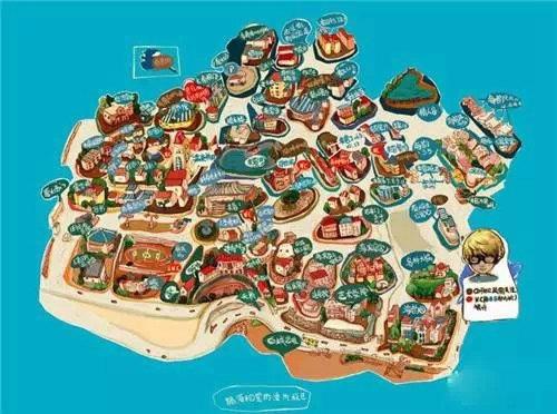 厦门各景点的手绘地图