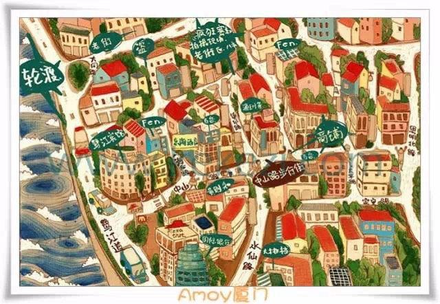 厦门各景点的手绘地图,太酷炫了!赶紧收藏起来