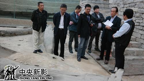 阎崇年(右二)考察隋唐运河柳孜码头遗址
