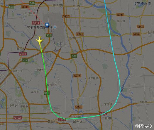 原本正确的飞行线路图(图片来自微博)