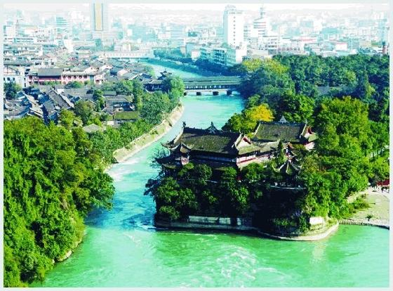 Built in the 3rd century B.C. on the Minjiang River west of the Chengdu Plain in Sichuan Province, the Dujiangyan is a large-scale water conservancy project constructed by the working people led by Li Bing and his son
